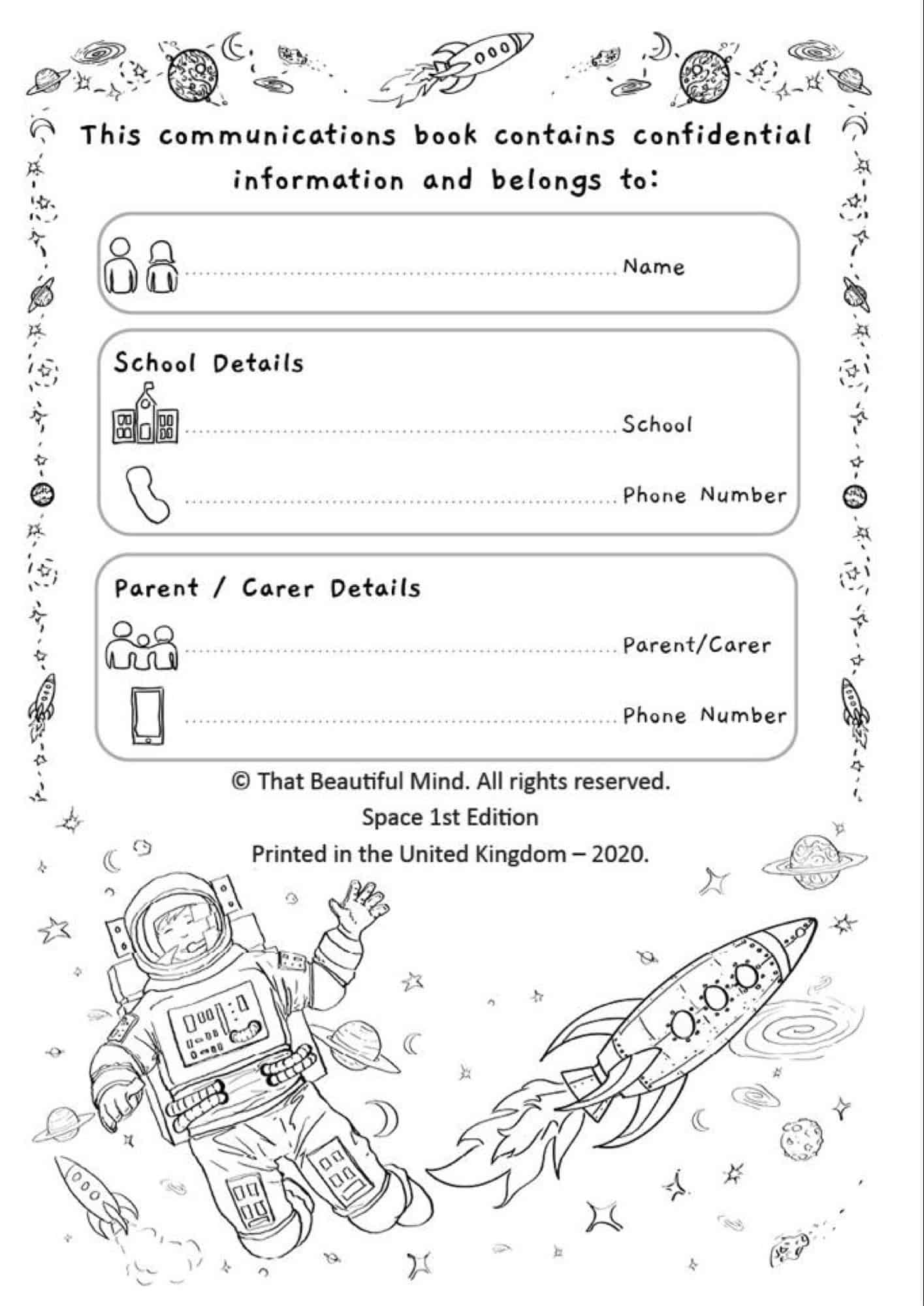 home school communications book space edition inside cover